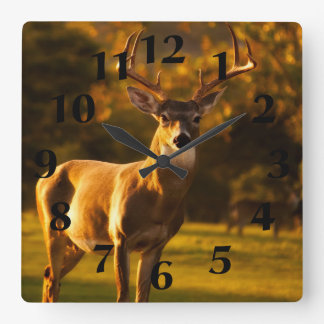 Stag Deer Square Wall Clock