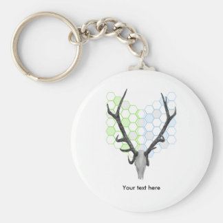 Stag Deer Trophy Antlers Geometric Pattern Basic Round Button Keychain