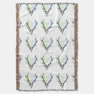Stag Deer Trophy Antlers Geometric Pattern Throw Blanket