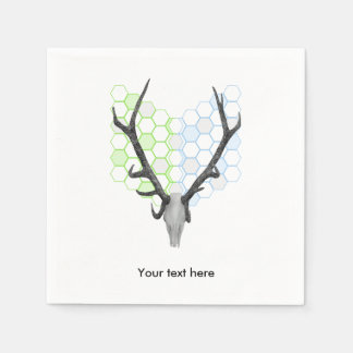 Stag Deer Trophy Antlers Honeycomb Pattern Disposable Napkins