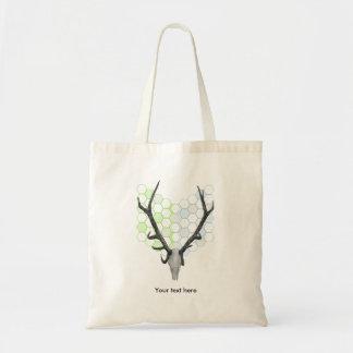 Stag Deer Trophy Antlers Honeycomb Pattern Tote Bag