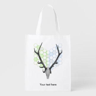 Stag Deer Trophy Antlers Reusable Grocery Bag