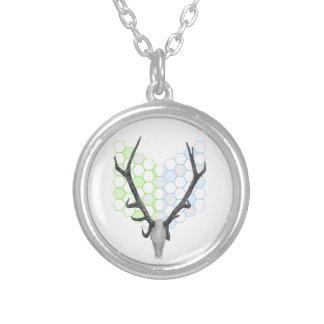 Stag Deer Trophy Antlers Silver Plated Necklace