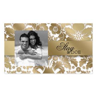 Stag & Doe Ticket Damask Floral Gold White Business Card