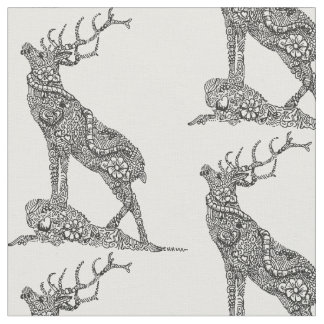 Stag Doodle Artwork Fabric
