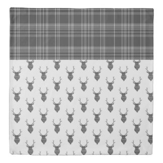 Stag Head and Grey Tartan Pattern Duvet Cover