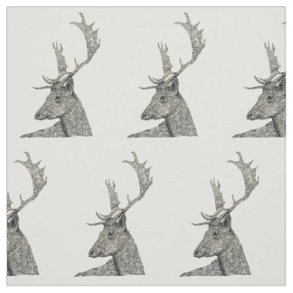 Stag Head Doodle Art Fabric
