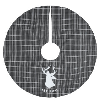 Stag Head on Black and White Plaid Brushed Polyester Tree Skirt