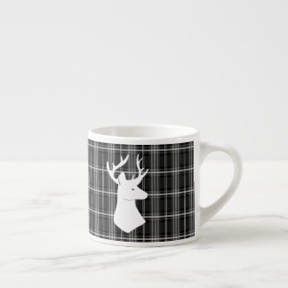 Stag Head on Black and White Plaid Espresso Cup