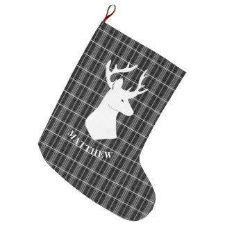 Stag Head on Black and White Plaid Large Christmas Stocking
