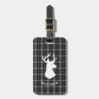 Stag Head on Black and White Plaid Luggage Tag