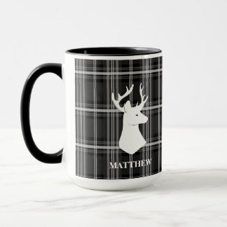 Stag Head on Black and White Plaid Mug