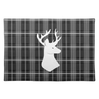 Stag Head on Black and White Plaid Placemat
