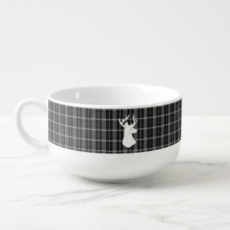 Stag Head on Black and White Plaid Soup Mug
