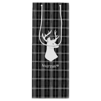 Stag Head on Black and White Plaid Wine Gift Bag