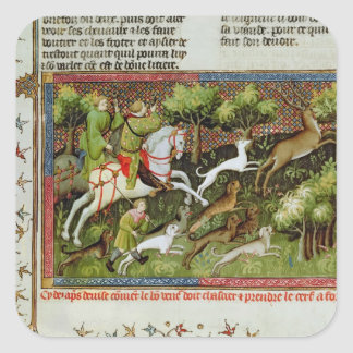 Stag Hunting, from the Livre de la Chasse Square Sticker