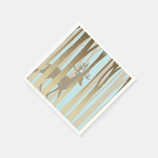 Stag In Birch Trees Paper Napkin