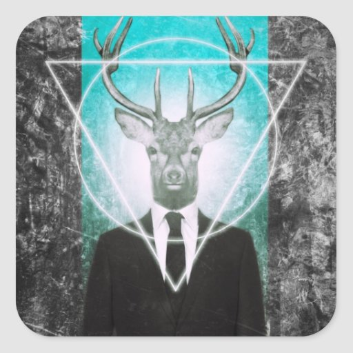 Stag in suit square sticker