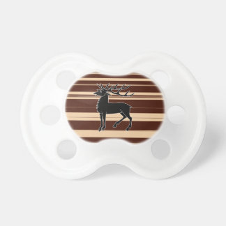 Stag isolated on stripey background baby pacifier