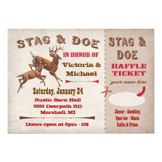 Stag or Buck and Doe ticket and raffle invitation