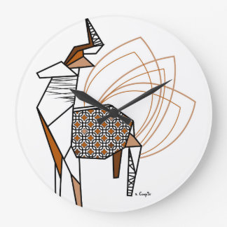 Stag origami large clock