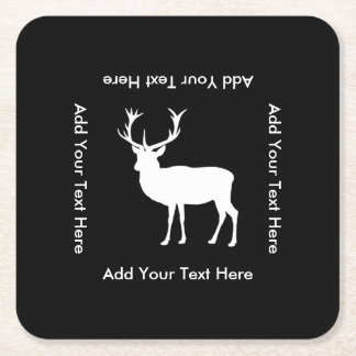 Stag Party - Elegant Drawing of a Stag Square Paper Coaster