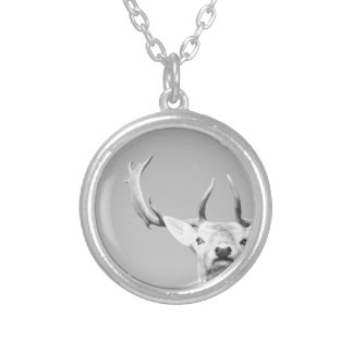 Stag prints stay Deer Silver Plated Necklace