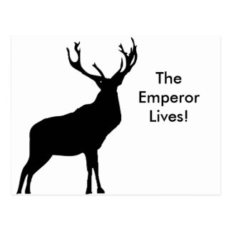Stag silhouette with big antlers postcard