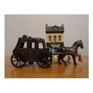 Stage Coach and Building  Figurine Postcard