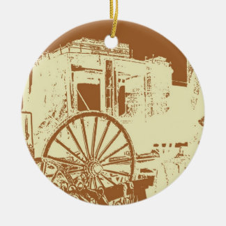 Stage Coach Cream and Tan Print Round Ceramic Ornament