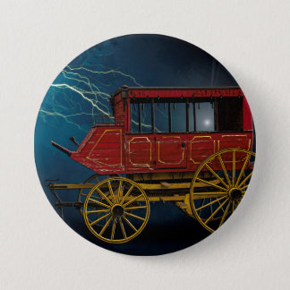 STAGE COACH IN LIGHTNING STORM 3 INCH ROUND BUTTON