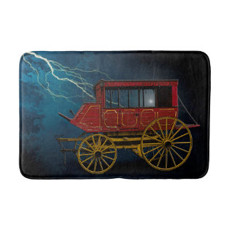 STAGE COACH IN LIGHTNING STORM BATH MAT