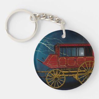 STAGE COACH IN LIGHTNING STORM Double-Sided ROUND ACRYLIC KEYCHAIN