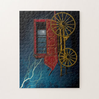 STAGE COACH IN LIGHTNING STORM JIGSAW PUZZLE