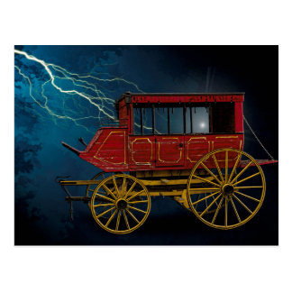 STAGE COACH IN LIGHTNING STORM POSTCARD
