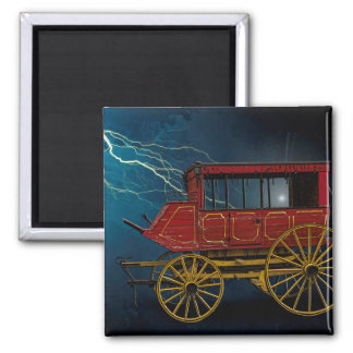 STAGE COACH IN LIGHTNING STORM SQUARE MAGNET