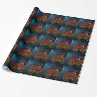STAGE COACH IN LIGHTNING STORM WRAPPING PAPER