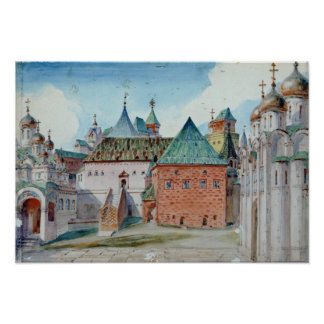 Stage design for Modest Mussorgsky's opera Poster