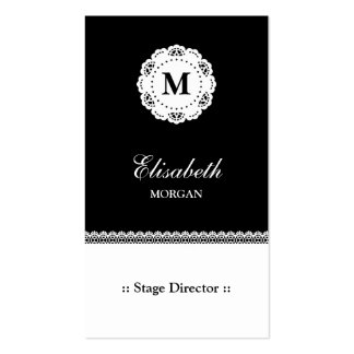 Stage Director Black White Lace Monogram Pack Of Standard Business Cards