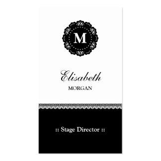 Stage Director - Elegant Black Lace Monogram Pack Of Standard Business Cards