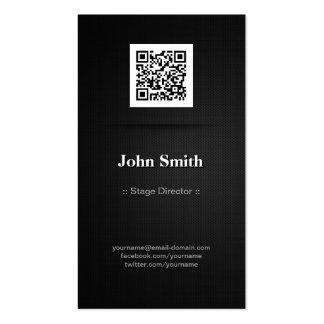 Stage Director - Elegant Black QR Code Pack Of Standard Business Cards