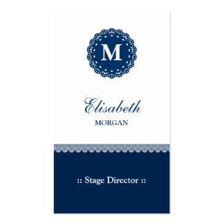 Stage Director - Elegant Blue Lace Monogram Pack Of Standard Business Cards