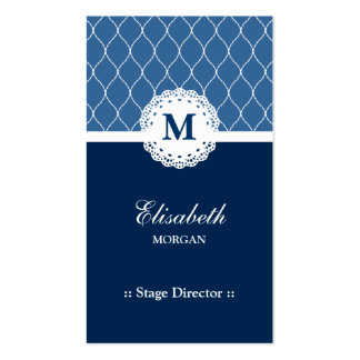 Stage Director - Elegant Blue Lace Pattern Pack Of Standard Business Cards