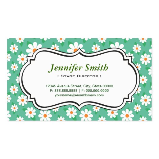 Stage Director - Elegant Green Daisy Business Cards