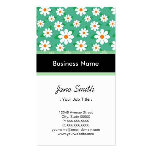 Stage Director Elegant Green Daisy Pattern Business Card Template
