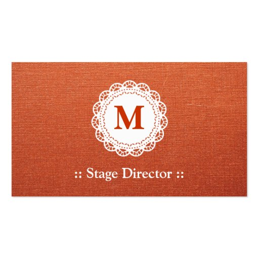 Stage Director - Elegant Lace Monogram Business Cards