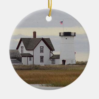 Stage Harbor Lighthouse Round Ceramic Ornament