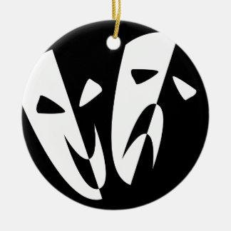 Stage Masks Round Ceramic Ornament