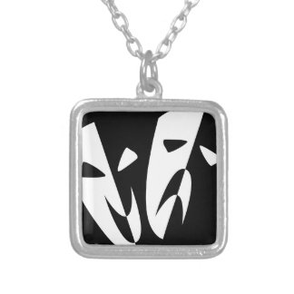 Stage Masks Silver Plated Necklace