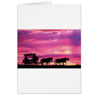 Stagecoach At Sunset Card